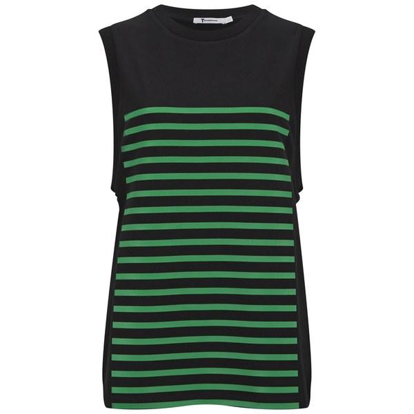 T by Alexander Wang Women's Stripe GelPrint Stiff Cotton Tank Top - Black