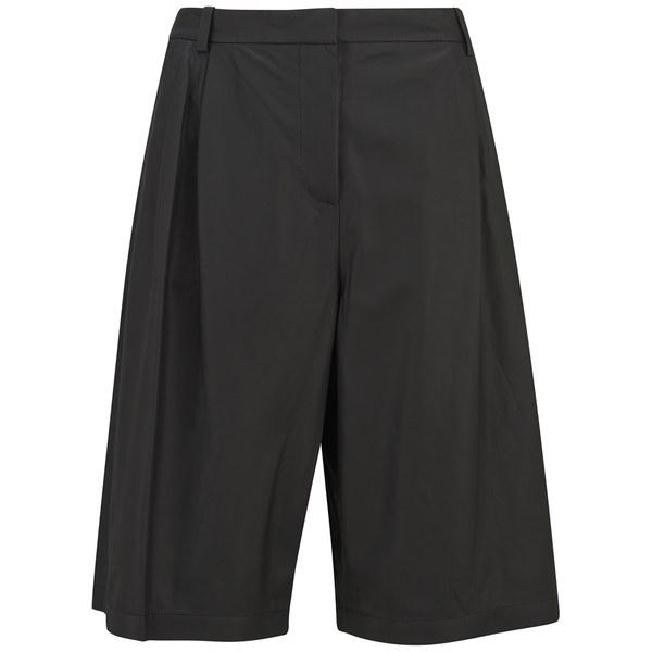 T By Alexander Wang Women's Matte Leather Wide Leg Shorts - Black