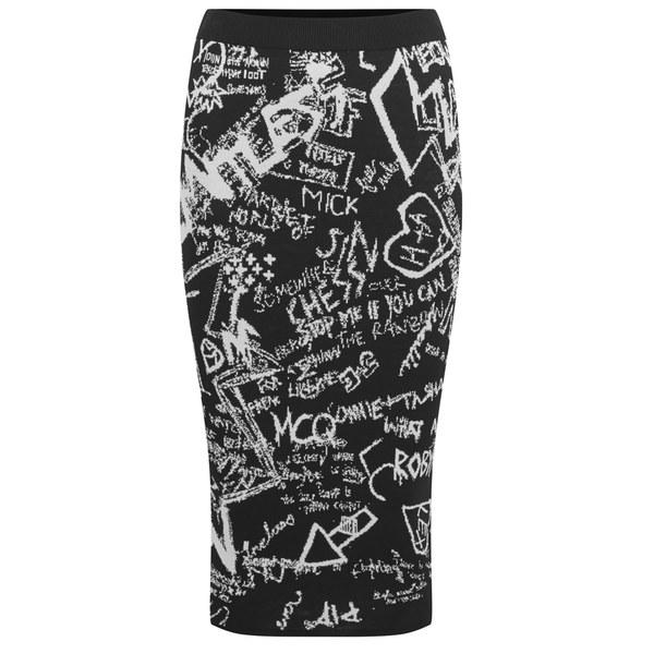 McQ Alexander McQueen Women's Jacquard Print Pencil Skirt - Black