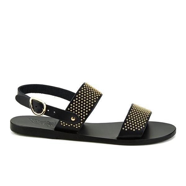 Ancient Greek Sandals Women's Dinami Two Part Studded Leather Flat Sandals - Black/Gold Studs