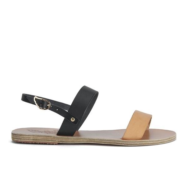Ancient Greek Sandals Women's Clio Two Part Leather Flat Sandals - Natural/Black