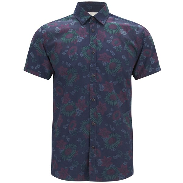 Jack & Jones Printed Short Sleeved Shirt Men blue Meilleure Vente En Gros En Ligne mjG7b6zAX0