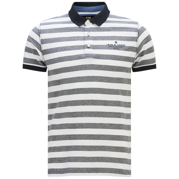 Jack & Jones Men's Cooper Striped Polo Shirt - Grey: Image 1