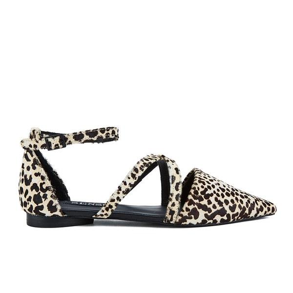 Senso Women's Gabriel III Leopard/Pony Pointed Multi Strap Flat Sandals - Latte