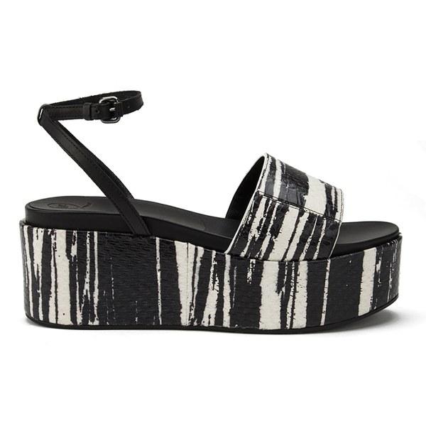 McQ Alexander McQueen Women's Seabright Snake Leather Flatform Sandals - Black/White