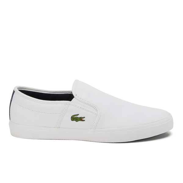 b3ce6530b06c0a Lacoste Men s Gazon Sport CSU Canvas Slip On Vulcanised Plimsolls -  White Dark Blue