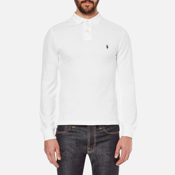 7169d32e8966c4 Polo Ralph Lauren Men s Slim Fit Long Sleeved Polo Shirt - White  Image 1