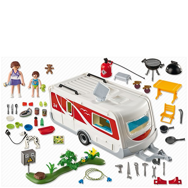 Playmobil camping family caravan 5434 iwoot - Camping car playmobil pas cher ...