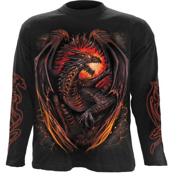 Spiral Men's DRAGON FURNACE Long Sleeve T-Shirt - Black