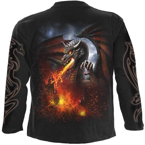 Spiral Men's DRAGON LAVA Long Sleeve T-Shirt - Black