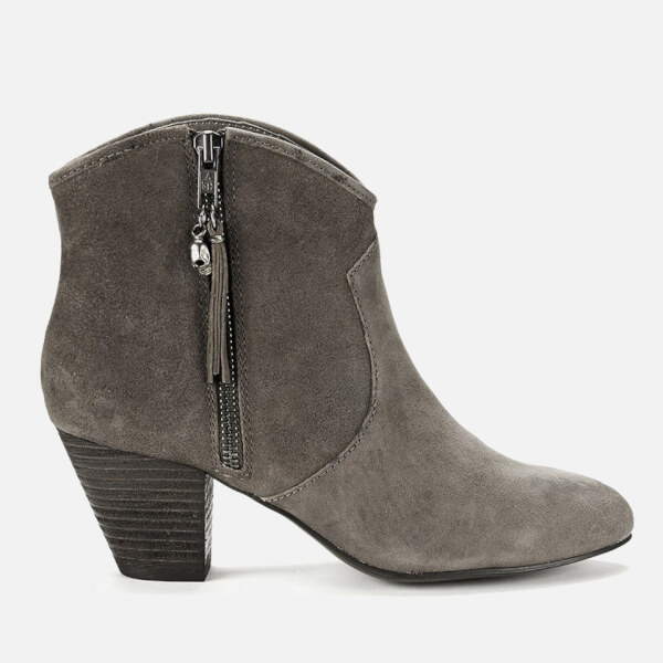 Ash Women's Jess Reverse Broken Suede Heeled Ankle Boots - Topo