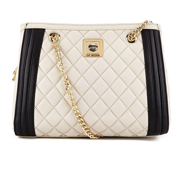 Love Moschino Women's Quilted Shoulder Bag with Chain Strap - Black/Ivory