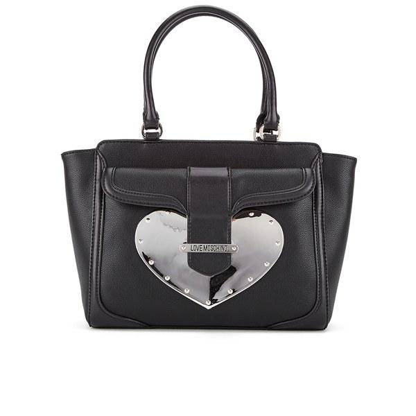 Love Moschino Women's Gold Heart Tote Bag - Black