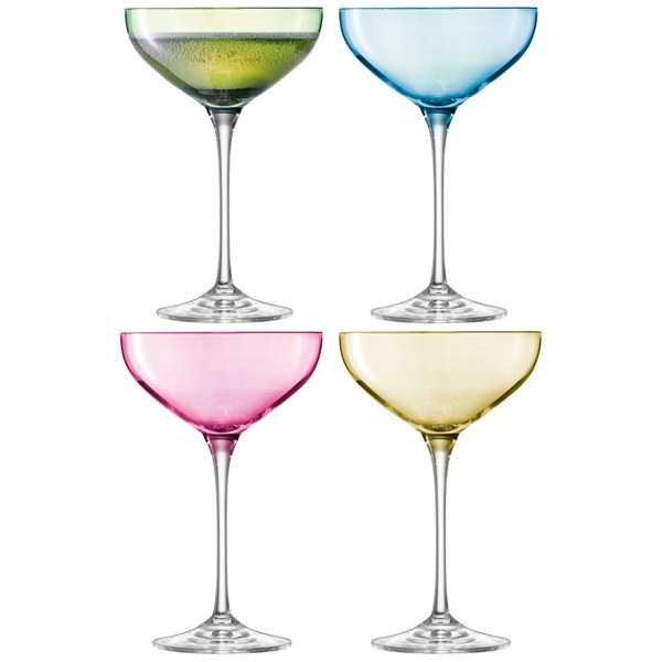 LSA Polka Champagne Saucers 235ml Pastel (Set of 4)