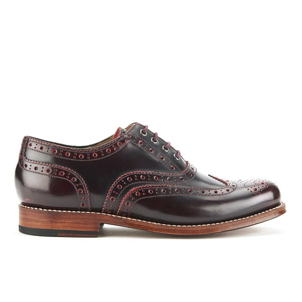 Grenson Women's Rose Leather Brogues - Cherry Rub Off