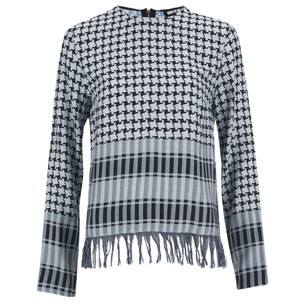 House of Holland Women's Afghan Check Long Sleeve Top - Black/White