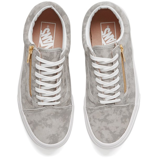 Vans Women s Old Skool Zip Marble Suede Trainers - Khaki True White  Image 2 2fef57dc19