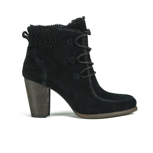 UGG Women's Analise Lace up Heeled Ankle Boots - Black