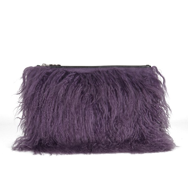 House of Holland Women's Mongolian Fur Clutch - Purple