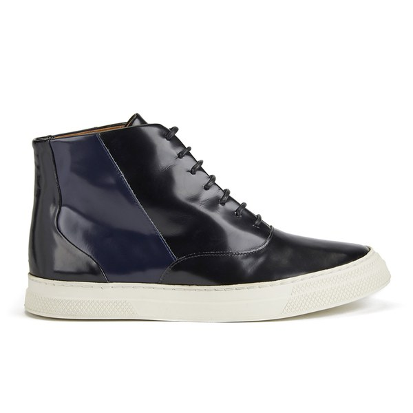 Folk Women's Ren Luxury Leather Hi Top Trainers - Black Navy