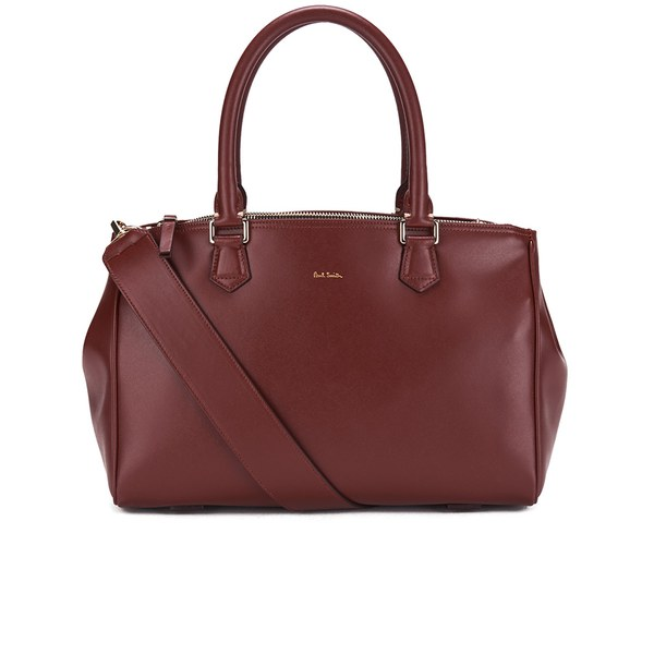 Paul Smith Accessories Women's Small Double Zip Leather Tote Bag - Raspberry