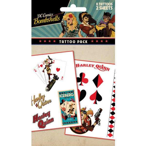 DC Comics Batman Harley Quinn Bombshell - Tattoo Pack