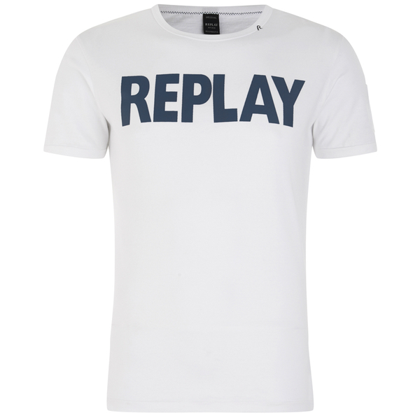REPLAY Men's Printed Crew Neck T-Shirt - Optical White