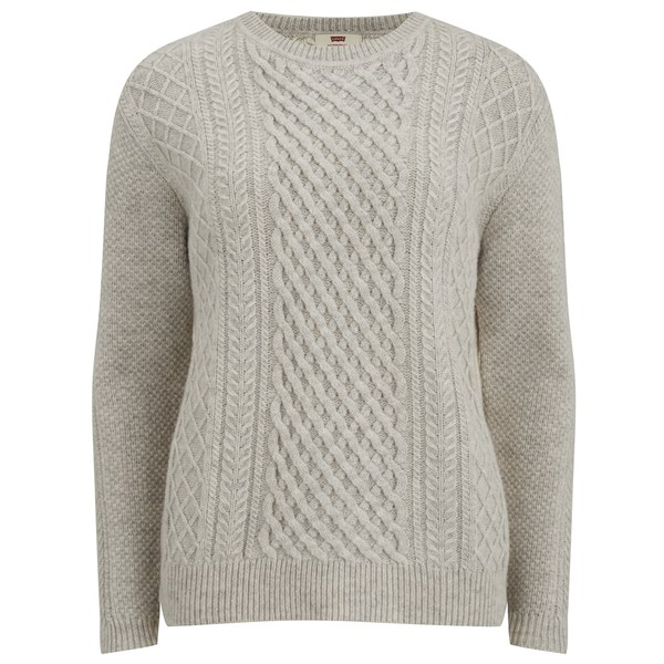 Free Knitting Scarf Pattern : Levis Womens Classic Cable Knitted Jumper - Icy Heather Grey - Free...