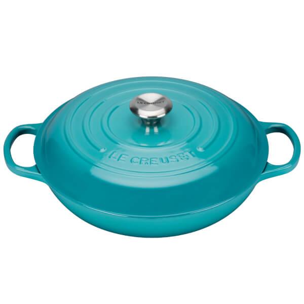 Le Creuset Signature Cast Iron Shallow Cerole Dish 26cm Teal Image 1