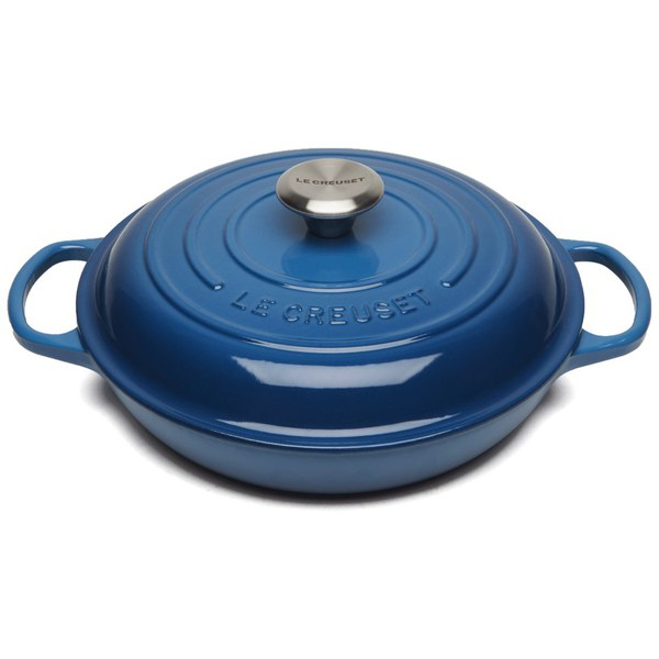 le creuset signature cast iron shallow casserole dish 26cm marseille blue homeware. Black Bedroom Furniture Sets. Home Design Ideas
