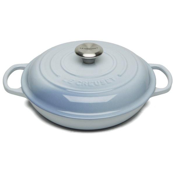 Le Creuset Signature Cast Iron 26cm Shallow Casserole Dish, 2L - Coastal Blue
