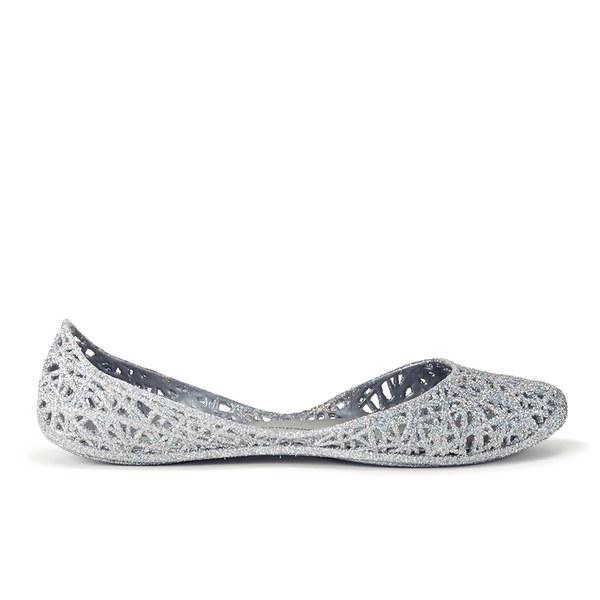 Melissa Women's Campana Zig Zag 14 Ballet Flats - Silver Glitter