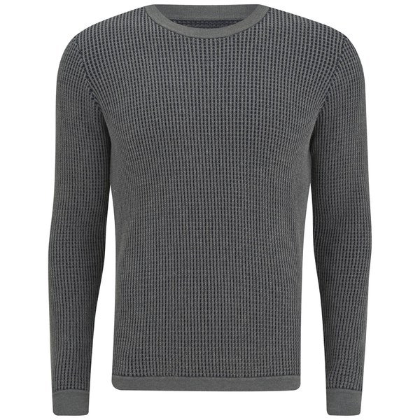 Folk Men's Crew Neck Knit - Grey/Navy