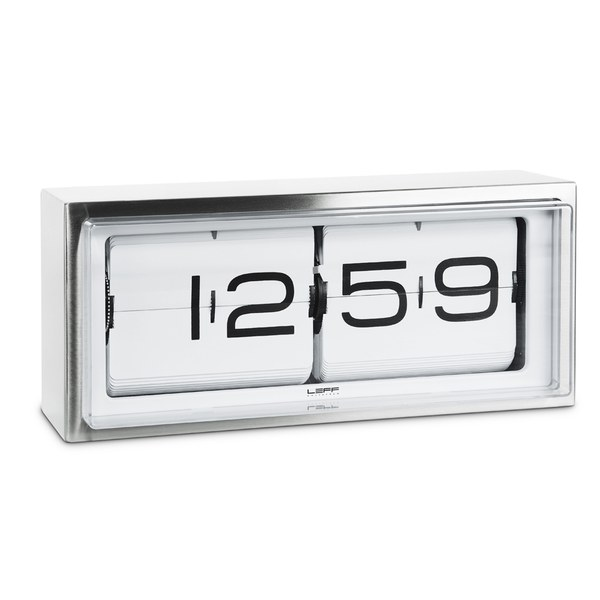 LEFF Amsterdam Brick Stainless Steel 24H Wall/Desk Clock - White