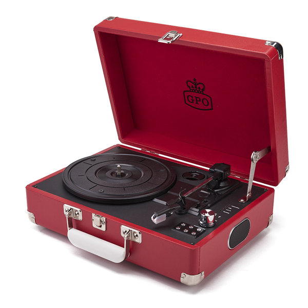GPO Retro Attache Briefcase Style Three-Speed Portable Vinyl Turntable with Free USB Stick and Built-In Speakers - Red