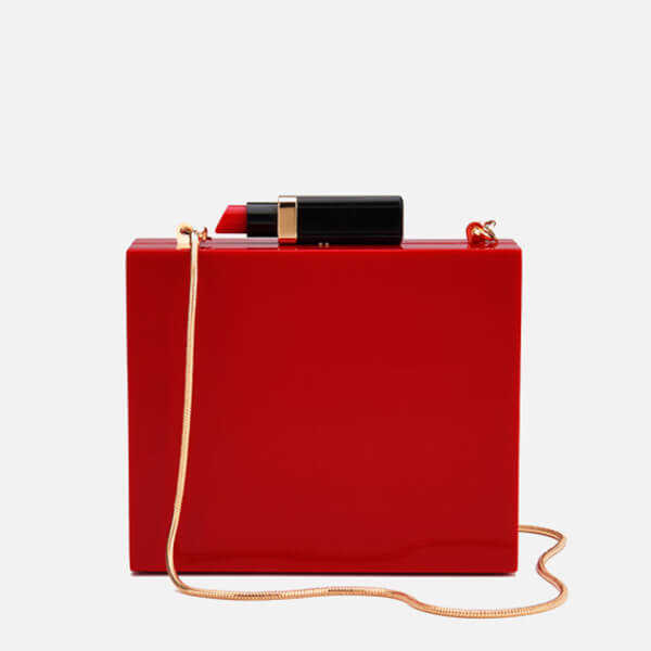 5f33979083 Lulu Guinness Women s Chloe Perspex Clutch Bag with Lipstick - Red  Image 1