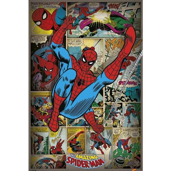 marvel comics spider man retro 24 x 36 inches maxi. Black Bedroom Furniture Sets. Home Design Ideas