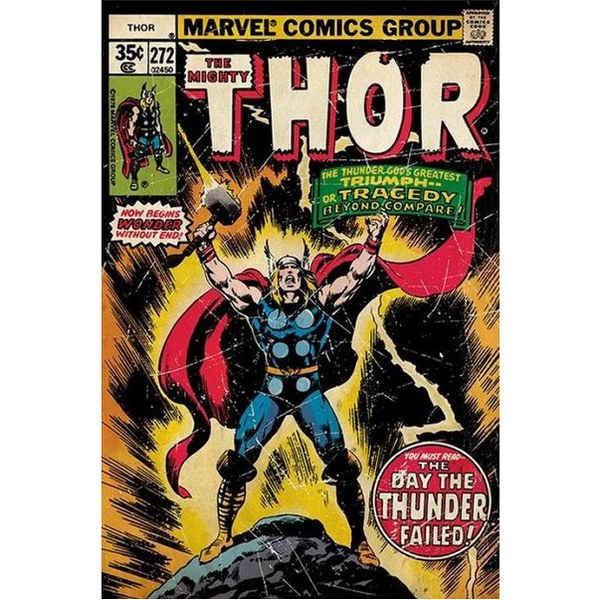Marvel Thor Retro Comic - 24 x 36 Inches Maxi Poster