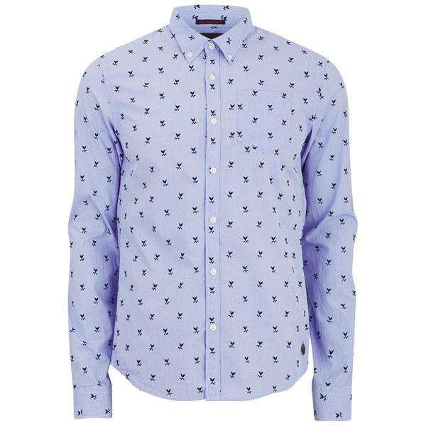 Scotch   Soda Men s Peach Cotton Flock Print Shirt - Blue Mens ... 33f5ba5b161