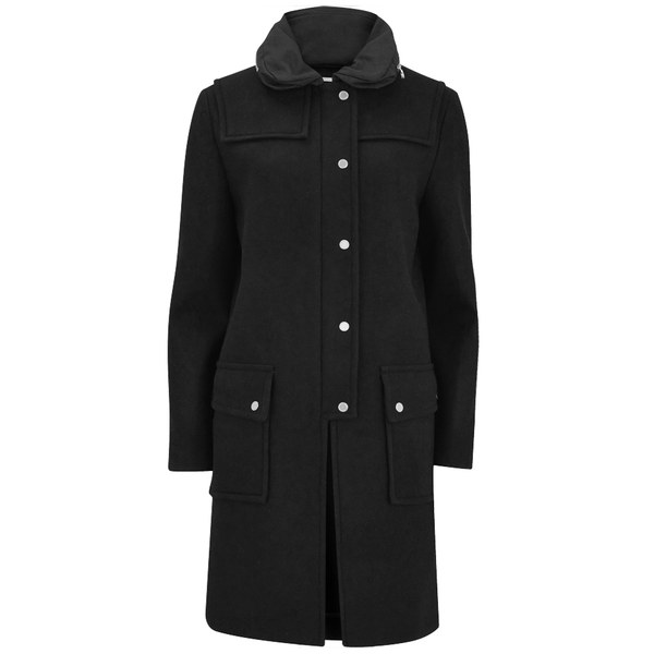 Marc by Marc Jacobs Women's Norman Bonded Wool Hooded Coat - Black