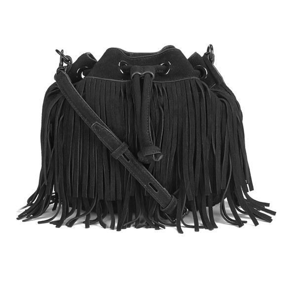 Rebecca Minkoff Women's Suede Fringe Mini Fiona Bucket Bag - Black