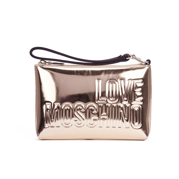 Love Moschino Womens Mirror Clutch Bag Rose Gold Free