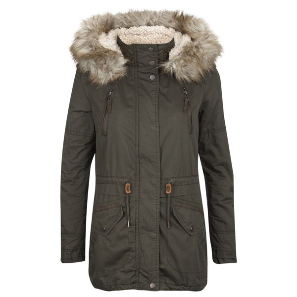 ONLY Womens Lee Canvas Parka Coat - Peat Womens Clothing | TheHut.com
