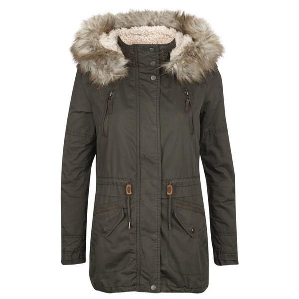 ONLY Womens Lee Canvas Parka Coat - Peat Womens Clothing | TheHut.com