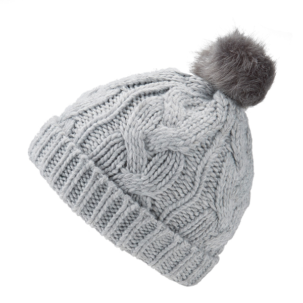 a36f696bfd6 ONLY Women s Faux Fur Pom Pom Bobble Hat - Light Grey Clothing ...