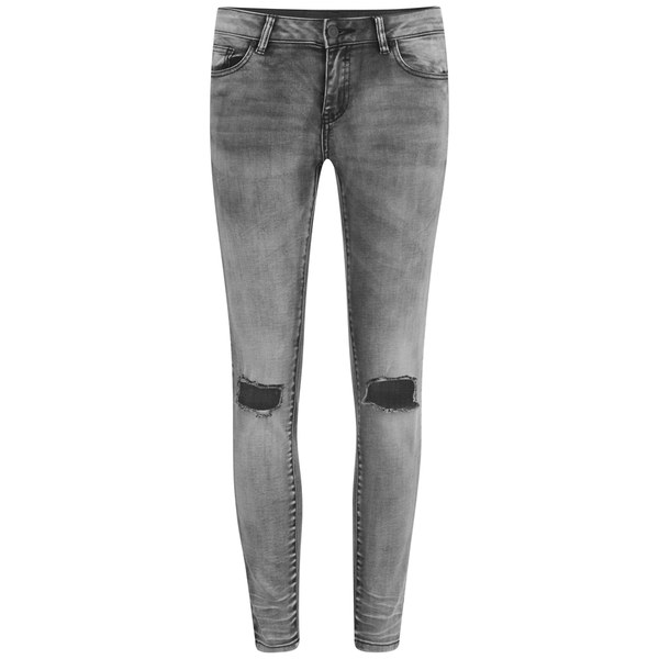 VILA Women's Ripped Knee Crush Skinny Jeans - Grey Clothing ...