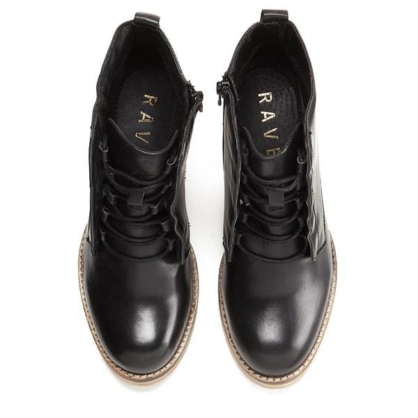 Ravel Women s Toronto Leather Lace Up Heeled Ankle Boots - Black  Image 2 fbeba4ab6c