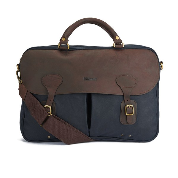 Barbour Men's Wax Leather Briefcase - Navy