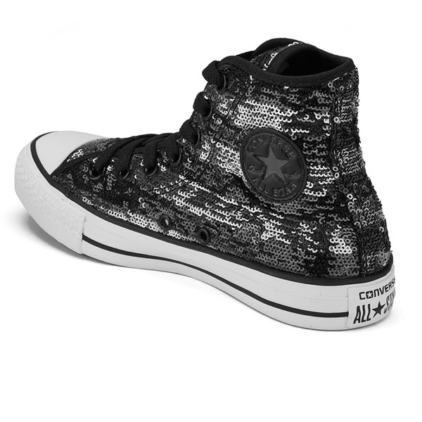 Converse Women s Chuck Taylor All Star Sequin Flag Hi-Top Trainers - Black  Silver 74a602c52a