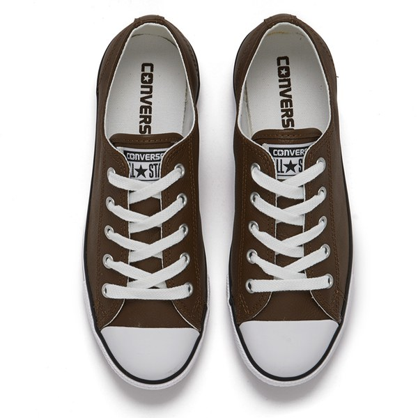 5f8f469985ed77 Converse Women s Chuck Taylor All Star Dainty Seasonal Leather Ox Trainers  - Chocolate White